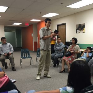 pastor teaching a group